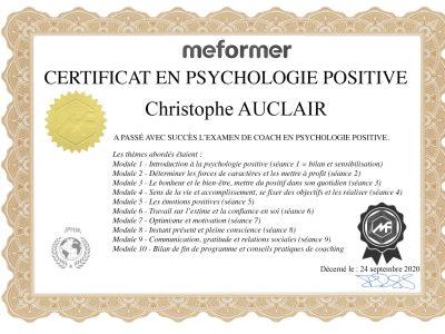 certificat Christophe AUCLAIR
